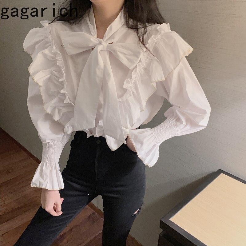 Gagarich женская белая блузка Весна 2020 модная кружевная рубашка в Корейском стиле с длинным рукавом и бантом свободная Черная Женская рубашка