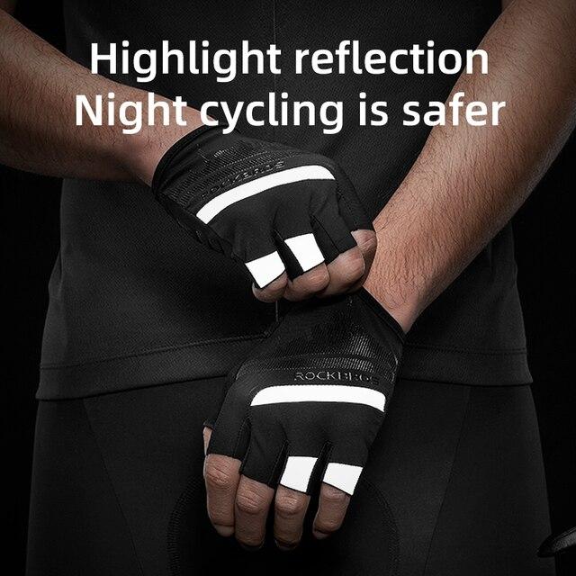 Rockbros luvas de ciclismo metade do dedo à prova de choque resistente ao desgaste respirável mtb estrada da bicicleta luvas 3