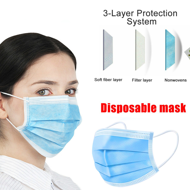 Masks 3-Ply Non-woven Face Mask Level Disposable Mascarillas Anti Lnfluenza Bacterial Respirator Safety anti-flu protective mask