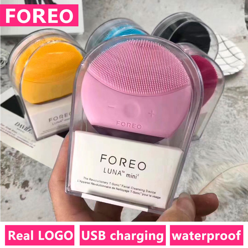 Foreo Luna Mini 2 Face Cleansing Brush With Real FOREO LOGO USB Waterproof Silicone Vibration Face Cleaner Skin Care Massager