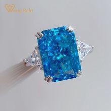 Party-Rings Fine-Jewelry Aquamarine Moissanite Gemstone Wedding Princess 100%925-Sterling-Silver