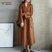 Women #8217 s coat long wool coat women 2020 autumn winter water ripple cashmere coat lace coat women red black coat high quality coat cheap DUTRIEUX CN(Origin) 9117 Ages 18-35 Years Old Turn-down Collar Belt Regular Full Slim Wool Blends Pockets Sashes 20 cashmere + 80 wool