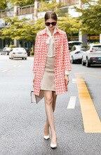 Chic womens print loose overcoat 2019 Fall/winter elegant Trench coat Womens wind A729