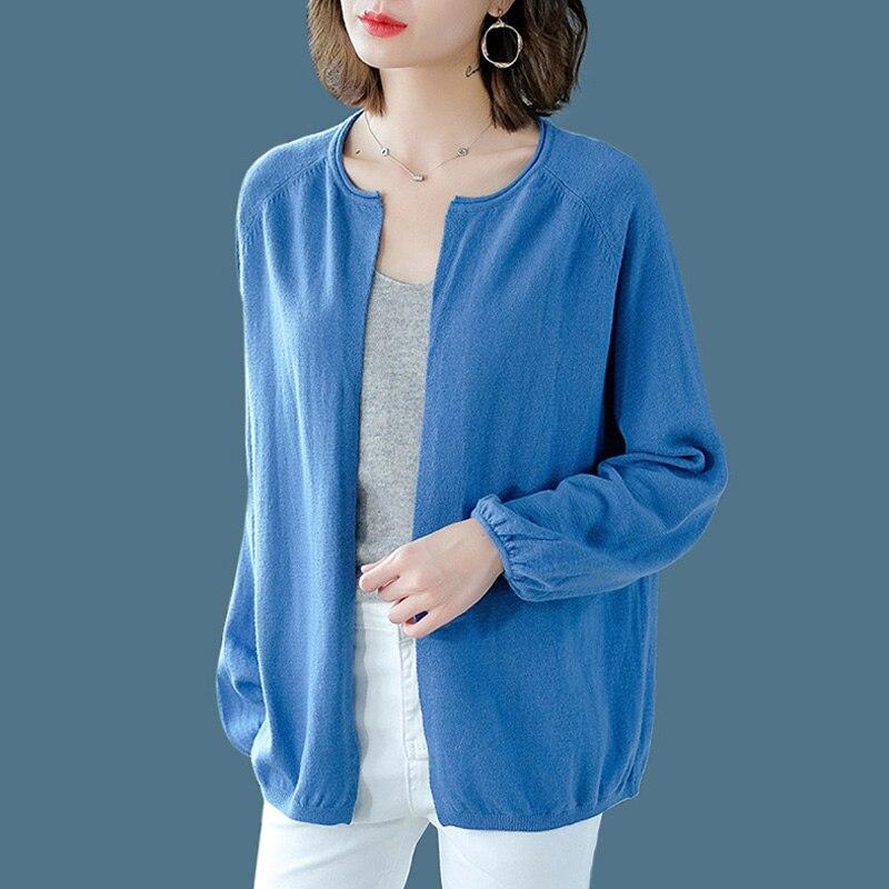 Bleu tricoté pull femmes mode col rond manches longues Cardigans manteaux printemps et automne nouveau décontracté hauts amples femmes