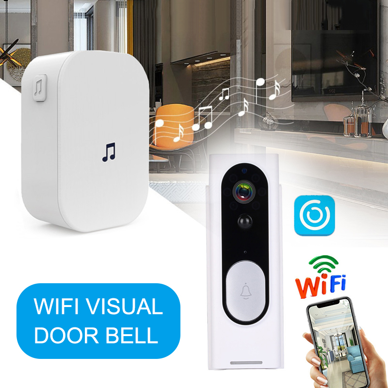 Video Doorbell 1080p HD Night Vision Wireless WiFi Security Home Monitor Intercom Door Bell Camera @M23