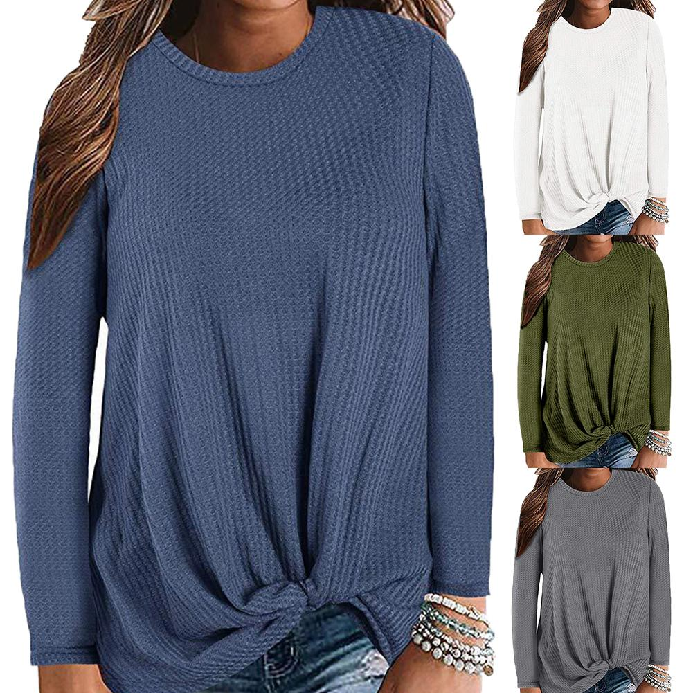 Plus Size Chic Lady Women Sweaters Solid Color O Neck Long Sleeve Knotted Knitted Sweater Top Jumper