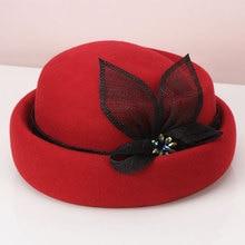 H740 корейские винтажные шерстяные мягкие шляпы шляпа осень зима женская льняная пряжа алмазное украшение модная шапка женские церковные вечерние элегантные шапки s