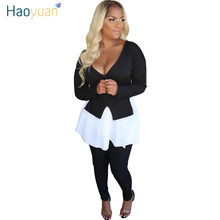 HAOYUAN Sexy Knit Two Piece Set Women Fall Clothing Front Long Back Short Top Pants Suit 2 Piece Matching Sets Sexy Club Outfits(China)
