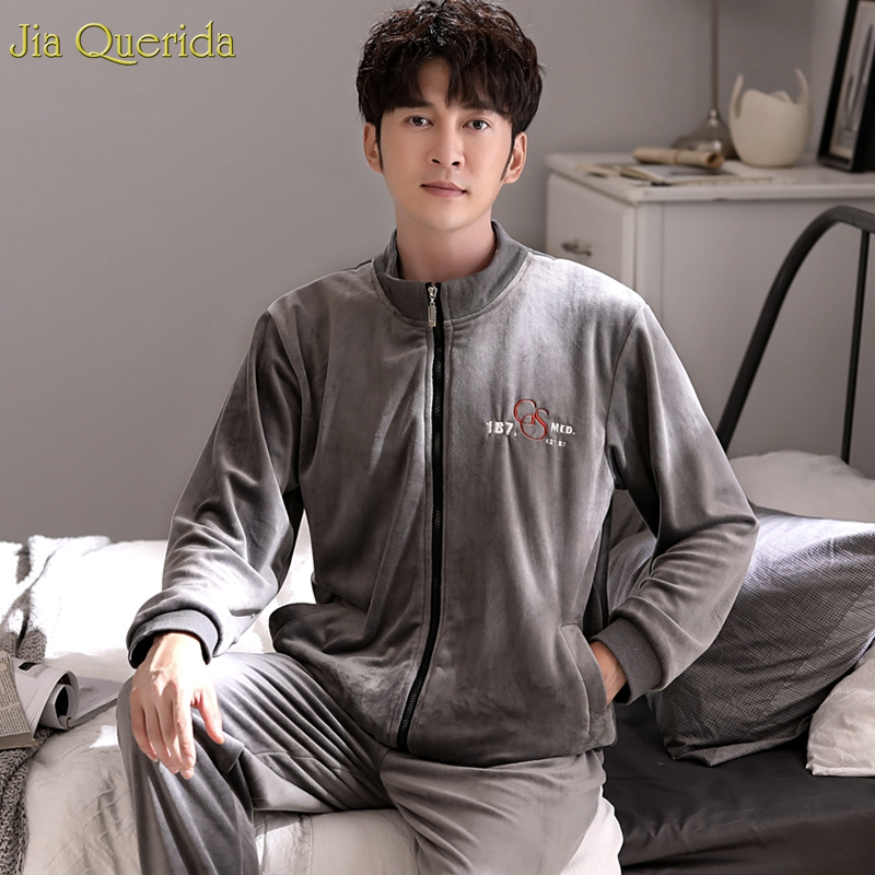 Men's Baseball Style Sporty Home Suits Winter Quality Velvet Pajamas Long Sleeve Zipper Jacket Plus Size Embroidery Males Pj Set