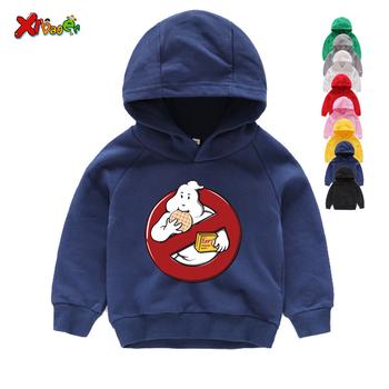 Chłopcy i dziewczęta Old School Logo Ghostbuster bluzy z kapturem z nadrukami dzieci Stay Puft śmieszne ubrania czarne bluzy z kapturem i bluzy 3-12 lat tanie i dobre opinie Moda COTTON Pasuje prawda na wymiar weź swój normalny rozmiar Unisex Cartoon Pełna REGULAR