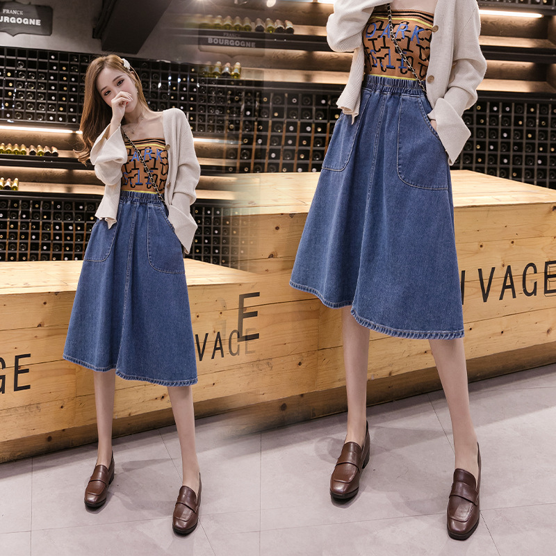 Denim Skirt Skirt 2019 Autumn And Winter New Style High-waisted Loose-Fit Mid-length 200 Large Size Dress