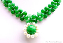 Qingmos Flower 24mm Pearl Pendant Necklace for Women With 6mm Dark Green Jade 3 Strands Necklace Handwork Weave 18'' Chokers(China)