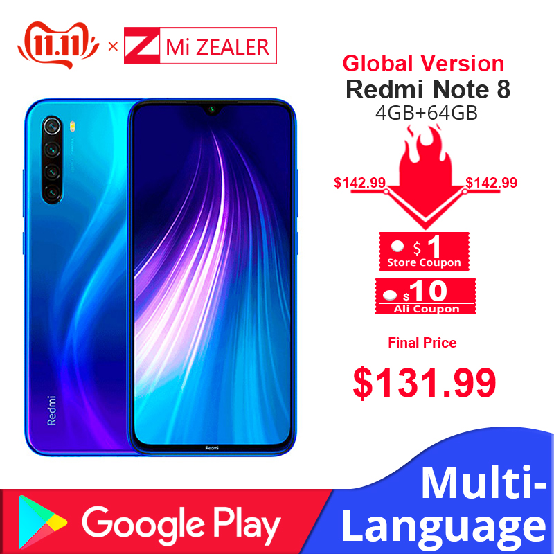 """Global Version  Xiaomi Redmi Note 8 4GB RAM 64GB ROM Octa Core Smartphone Snapdragon 665 48MP 6.3"""" Screen Fast Charger Cellphone"""