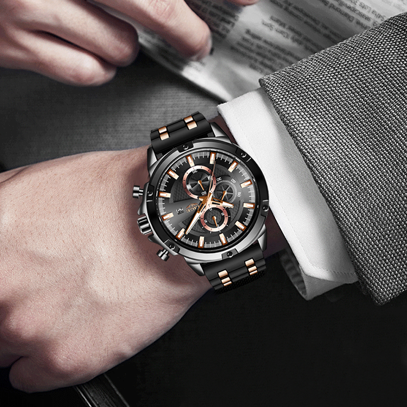 2020 New Mens Watches Top Brand Luxury Watch Men Military Waterproof Silicone strap Quartz Wrist Watch For Men Sport Chronograph 4