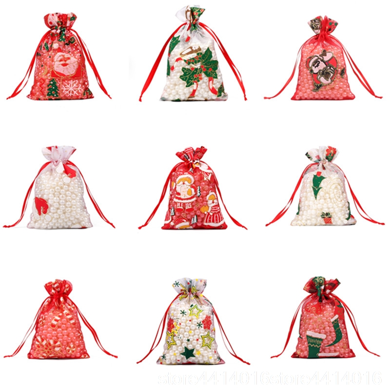 Image 2 - 50/100pcs 10X15 13X18cm Colored red white Christmas Organza Bag Gauze Element Jewelry Bags Packing Drawable Organza Gift Bags 55-in Gift Bags & Wrapping Supplies from Home & Garden