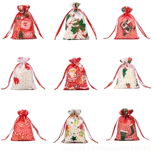 Image 2 - 50/100pcs 10X15 13X18cm בצבע אדום לבן חג המולד אורגנזה תיק גזה אלמנט תכשיטים שקיות אריזת Drawable אורגנזה מתנת שקיות 55