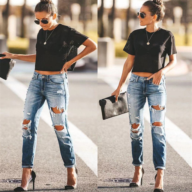 2020 Spring Fashion Hole Ripped Jeans Women