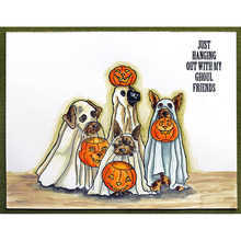 Clear Stamps Halloween Doggies with Pumpkin in mouth Transparent Stamp for DIY scrapbooking Crafts Cards Decoration New 2019 busy doggies