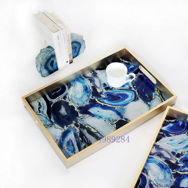 Fruit Plate Ceramic Outline Gold Line Flower Creative Fruit Plate Home Living Room Table Coffee Table Fruit Plate Color : BLUE