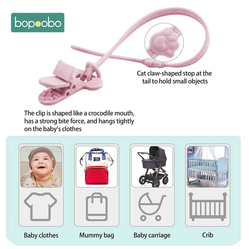 Bopoobo 1 قطعة دمية الطفل هوة سلسلة كليب القطن سيليكون عضاضة مهديء الحلمات حامل الوليد الطفل لعبة تغذية الملحقات