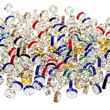 50Pcs Rhinestone Rondelle Spacer Beads For Jewelry Making 4/6/8/10mm Multi Color Crystal DIY Bracelet Necklace Accessories