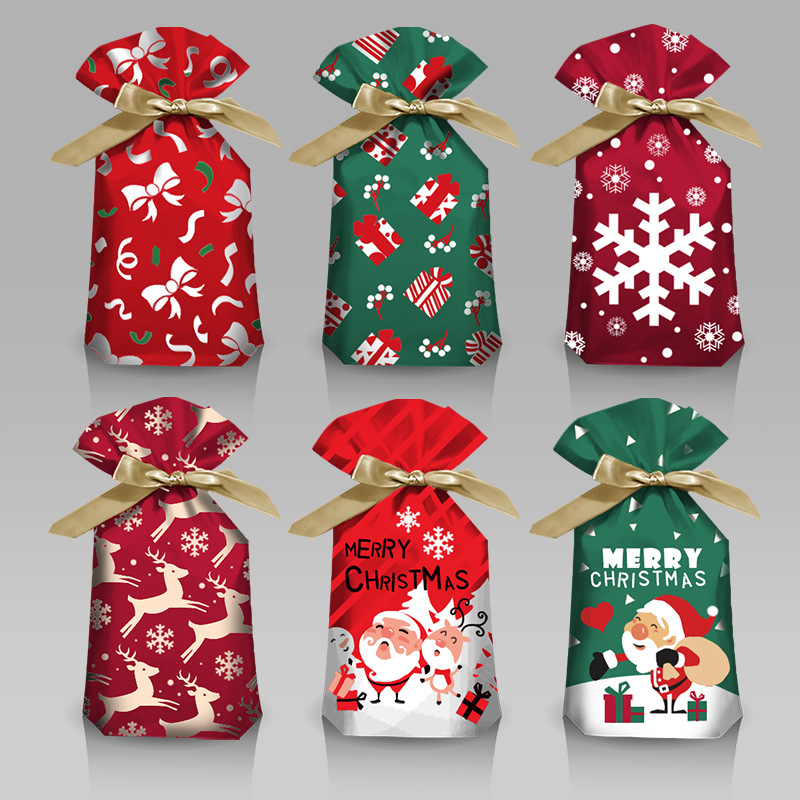 10pcs Christmas Candy Gift Bags Xmas Santa Elk Cookies Pouches New Year Supplies
