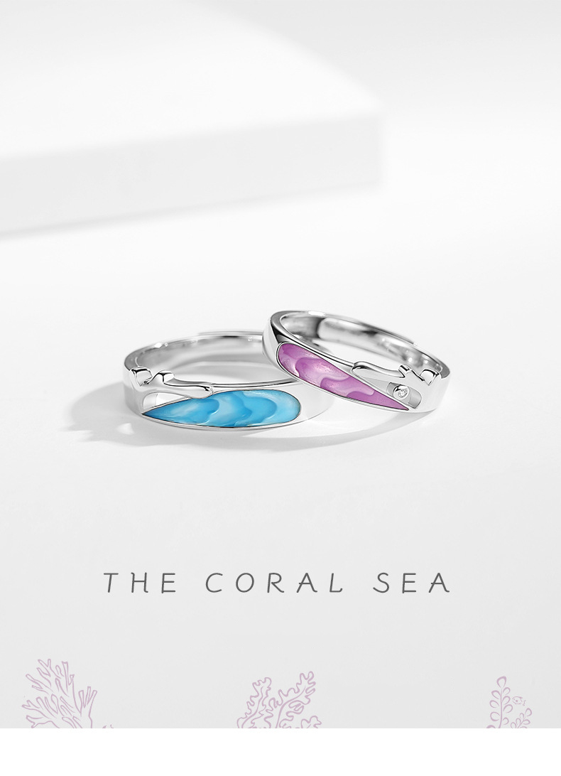Leouerry enamel craft coral sea shape couple rings for women