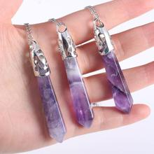 2019 New Natural Stone Crystal Pendant Necklace Jewelry Amethysts Ladies Alloy Chain Gift Box