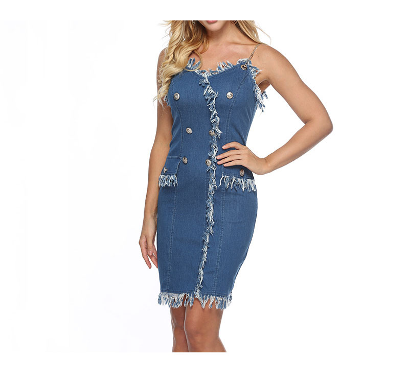 2019 Summer Autumn Blue Party Denim <font><b>Dress</b></font> Women Tassel <font><b>Jean</b></font> <font><b>Dress</b></font> <font><b>Sexy</b></font> Streetwear Club <font><b>Dress</b></font> Vestidos image