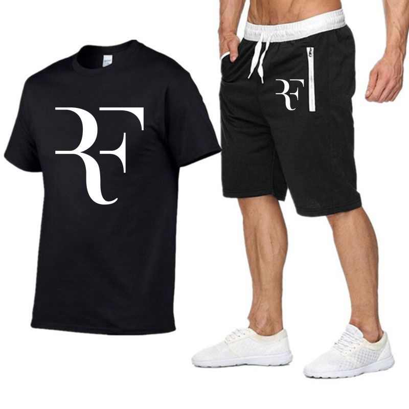 Image 2 - Roger Federer RF Tracksuit Summer Shirt +Shorts Outwear Sporting Men Sets T Shirts clothing Two piece suit Casual Tshirt-in Men's Sets from Men's Clothing