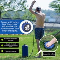 New 11L PVC Inflatable Shower Bag with Foot Pump Lightweight Outdoor Pressure Shower Bag Hiking Camping Beach Bathing Water Bag