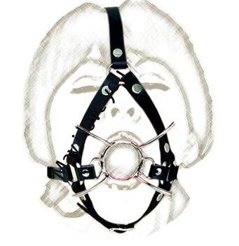 X estilo de acero inoxidable anillo O la boca abierta broma de las patas de araña mordazas bucales BDSM Bondage accesorios juguetes eróticos