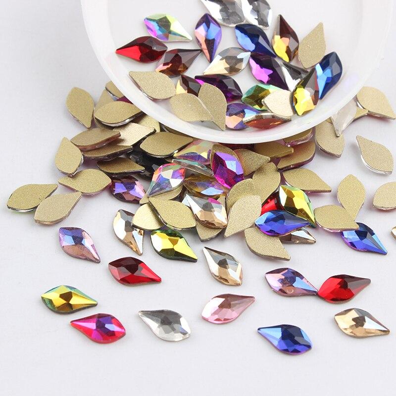 Все смешанные цвета, 30 шт, стразы для дизайна ногтей, сделай сам, без горячей фиксации, стеклянные камни для ногтей, драгоценные камни для 3D украшения для ногтей - Цвет: 5x10mm Pear