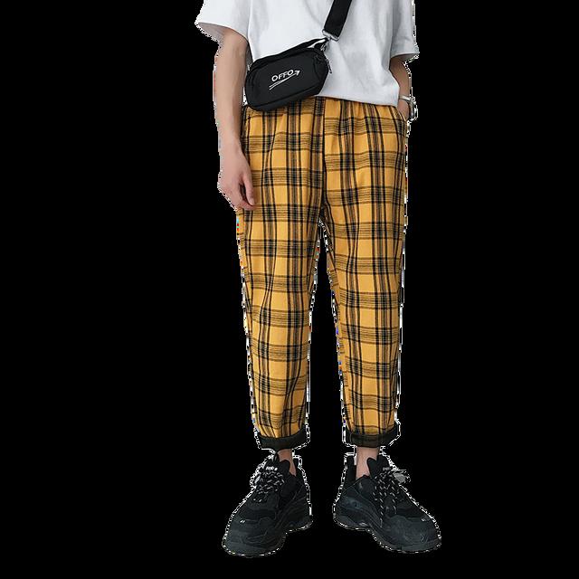 Streetwear Yellow Plaid Pants Men Joggers 2020 Man Casual Straight Harem Pants Men Korean Hip Hop Track Pants Plus Size 51