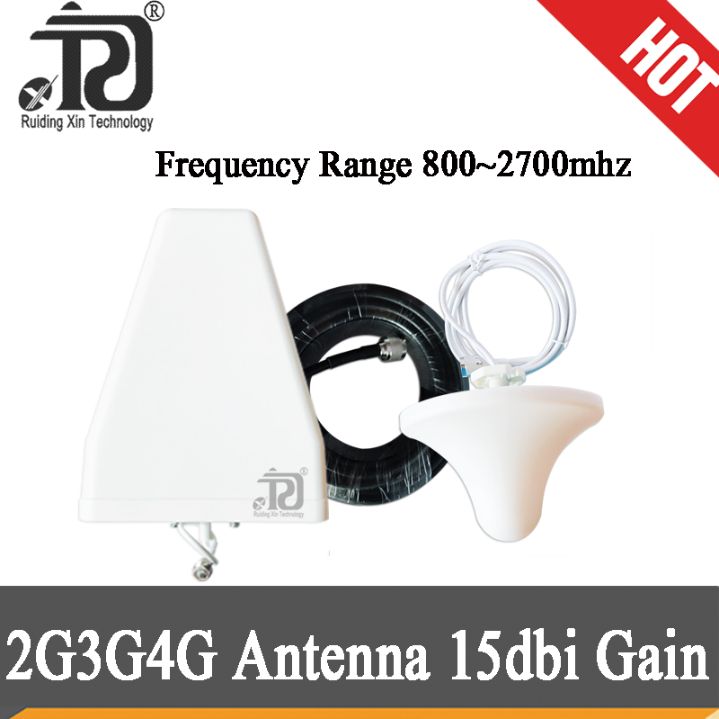 15dBi Gain 800~2700mhz LPDA Outdoor Antenna Ceiling Indoor Antenna 15 Meter Cable Accessories For 2G 3G 4G Mobile Signal Booster