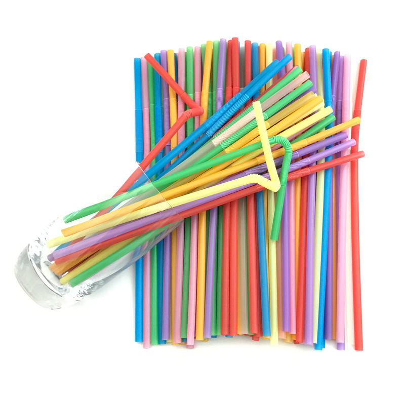 Disposable Straws Artistic Straw Milk Tea Drink Straw Flexible Modeling Plastic Color Straw 100 Pieces-