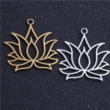6 pçs 37*39mm liga de metal dois cor oco lótus encantos planta pingentes para fazer jóias diy artesanal artesanato