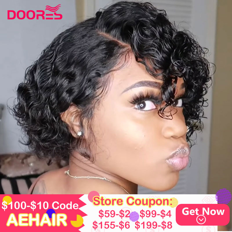 Pixie Cut Bob Lace Front Wigs 250% Density Lace Front Human Hair Wigs Curly Human Hair Wig Remy Lace Closure Wig Pre Plucked
