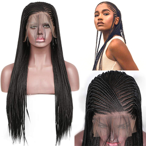 Charisma 13X6 Braided Wigs Synthetic Lace Front Wig Black Color Braided Box Braids Wig With Baby Hair Wigs for Black Women(China)