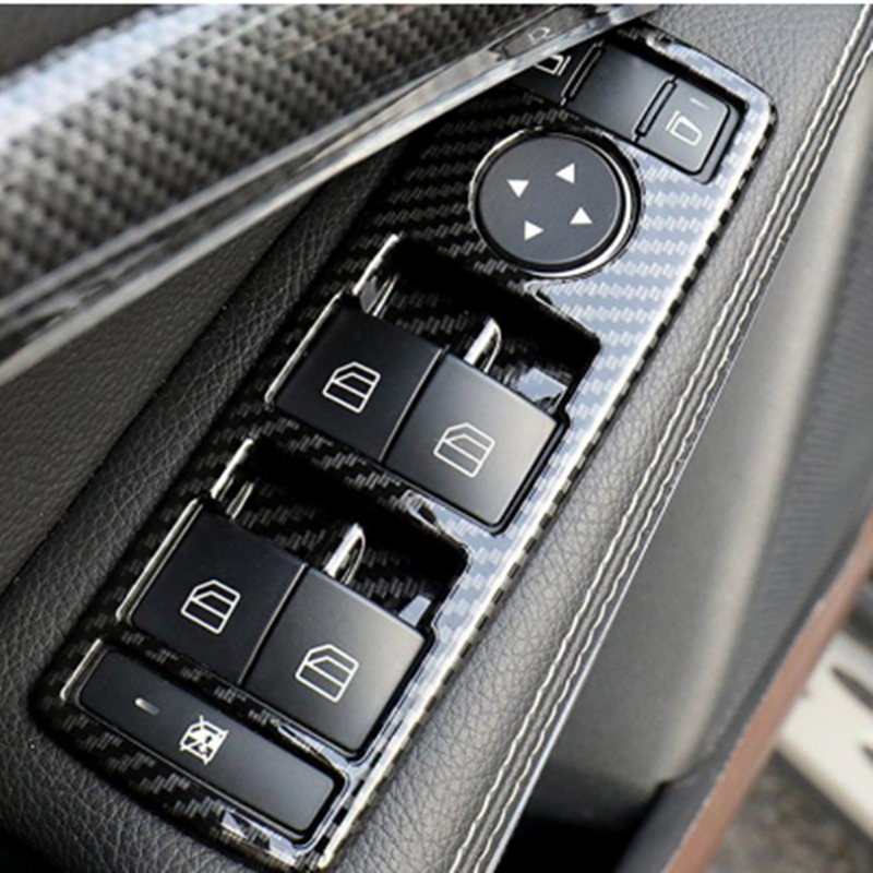 5Pcs Car Auto Carbon Fiber Window Switch Button Trim Cover Frame for Mercedes Benz A B C E CLA GLA GLK ML GLE Class W204