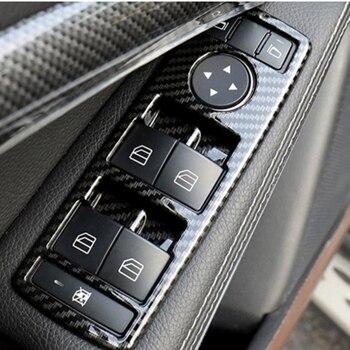 5Pcs Car Auto Carbon Fiber Window Switch Button Trim Cover Frame for Mercedes Benz A B C E CLA GLA GLK ML GLE Class W204 new electric power window switch a1698206710 for mercedes benz b klasse w245 a 169 820 67 10 1698206710
