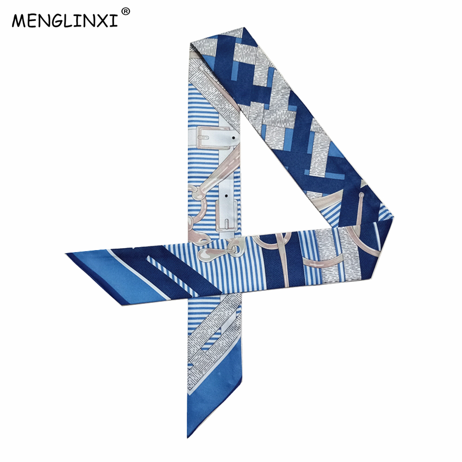 Luxury Brand 2020 New Design Skinny Silk Scarf Luxury Brand Scarf Women Bag Hair Neck Scarf For Ladies Foulard Femme Headband