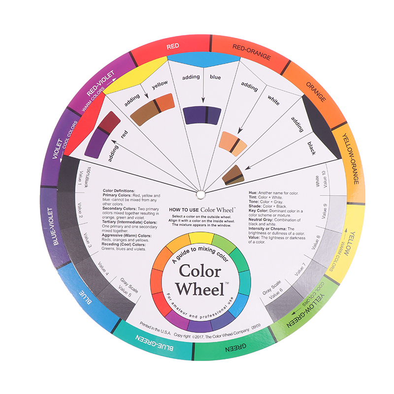 Tattoo Nail Pigment Wheel Paper Card Color Mixing Wheel Ink Round Central Circle
