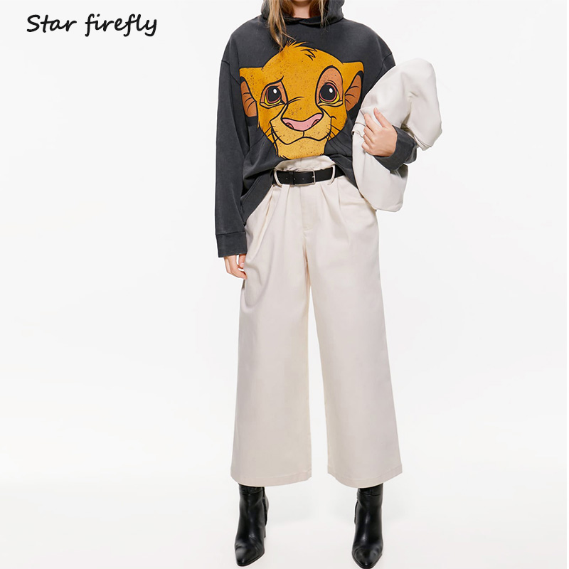 Star Firefly Wild Loose Large Size Long-sleeved Hooded Hoodies Female 2019 Autumn Thin Disney Lion King Print Sweatshirt Women