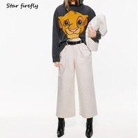 Star firefly wild loose large size long sleeved hooded hoodies female 2019 autumn thin Disney Lion King print sweatshirt women