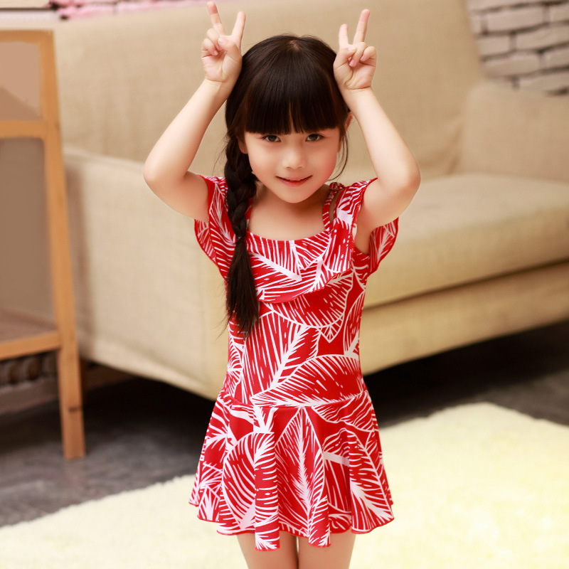 Haiyishan South Korea New Style Korean-style Children Dress-Bathing Suit Women's Girls Children Small CHILDREN'S Floral Cute Sty