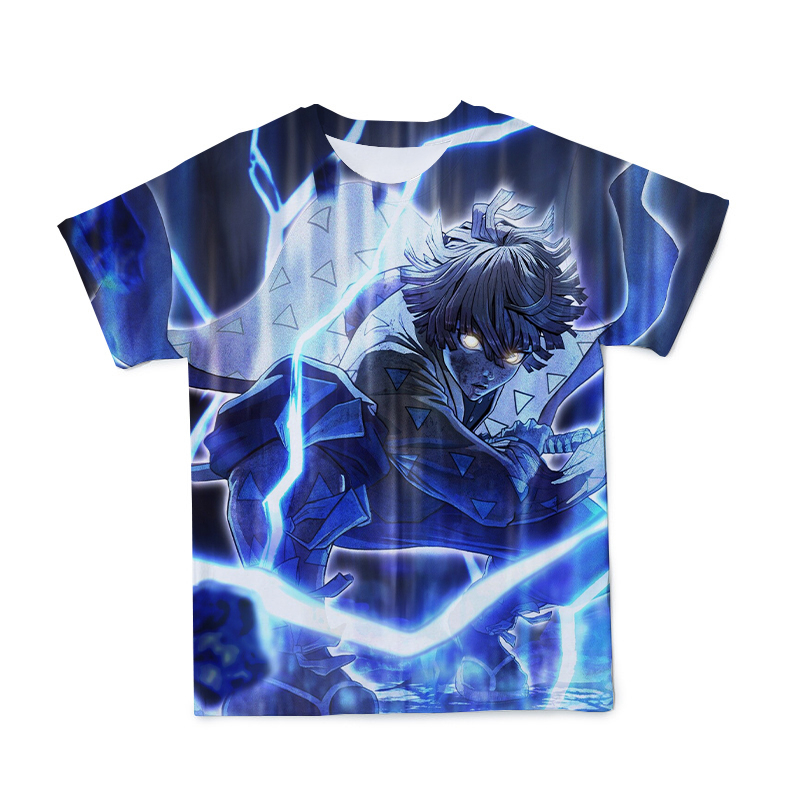 2021 Summer Men's 3D Japanese Anime T-shirt Clothing Swordsman and Ghost Character Model O-neck Short Sleeve Large Size 110-6XL