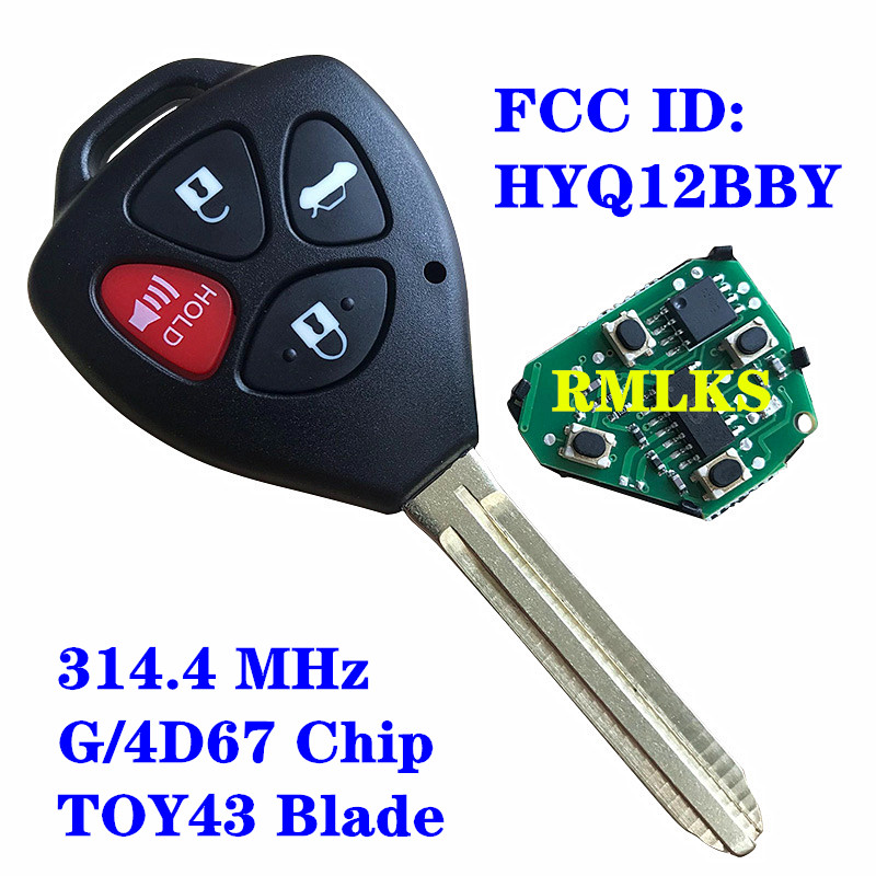 HYQ12BBY 314 4 Mhz 4D67 G 4 Buttons Car Remote Key For Toyota Camry Avalon Corolla