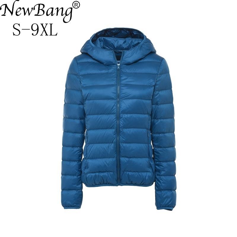 NewBang Plus Size 8XL 9XL  Ultra Light Down Jacket Women Autumn Winter Warm Coat White Duck Jackets Female Hooded Parka