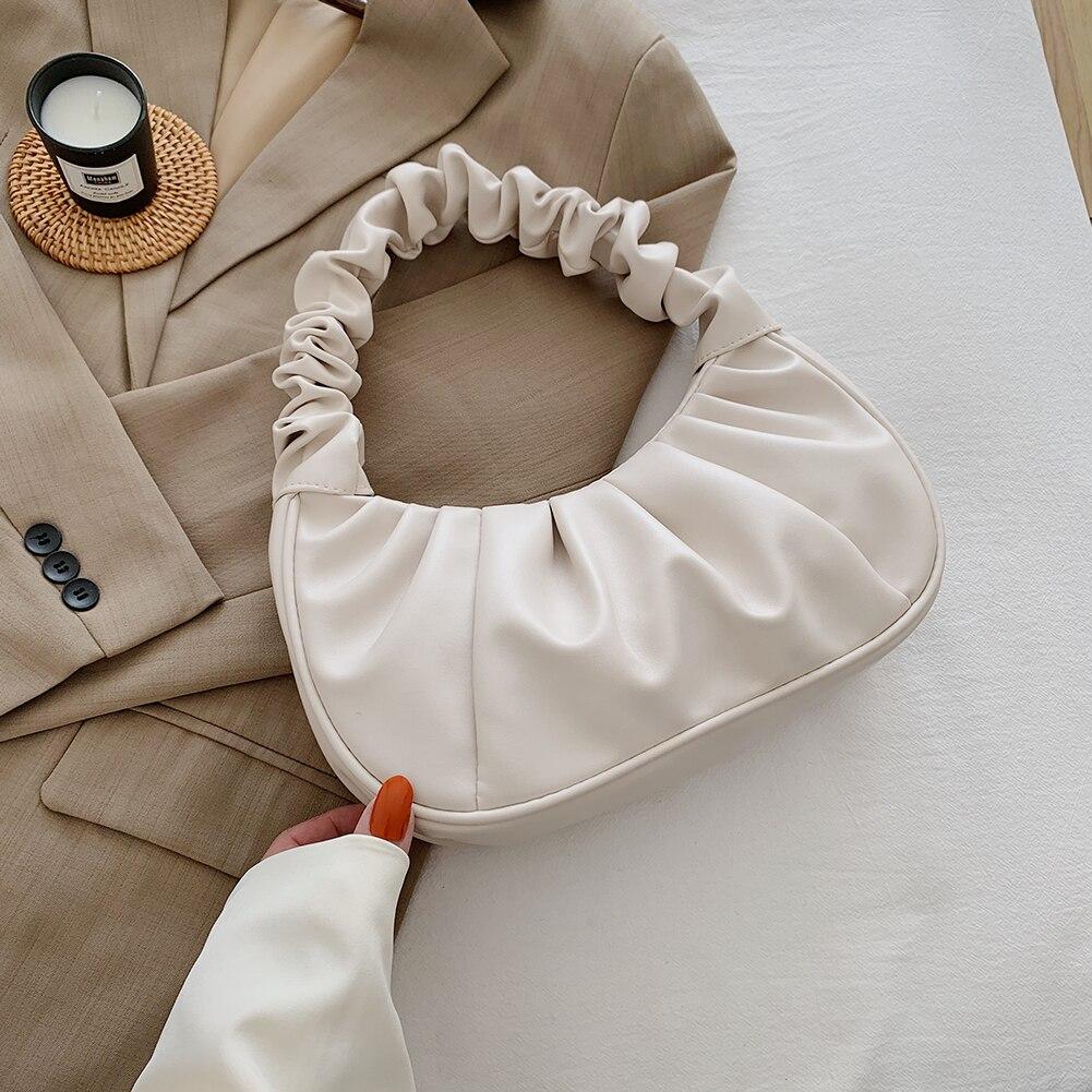Fashion Women Shoulder Bag Pleated PU Leather Handbag Female Daily Autumn Casual Street Travel Underarm Bags Shopping Tote 2021